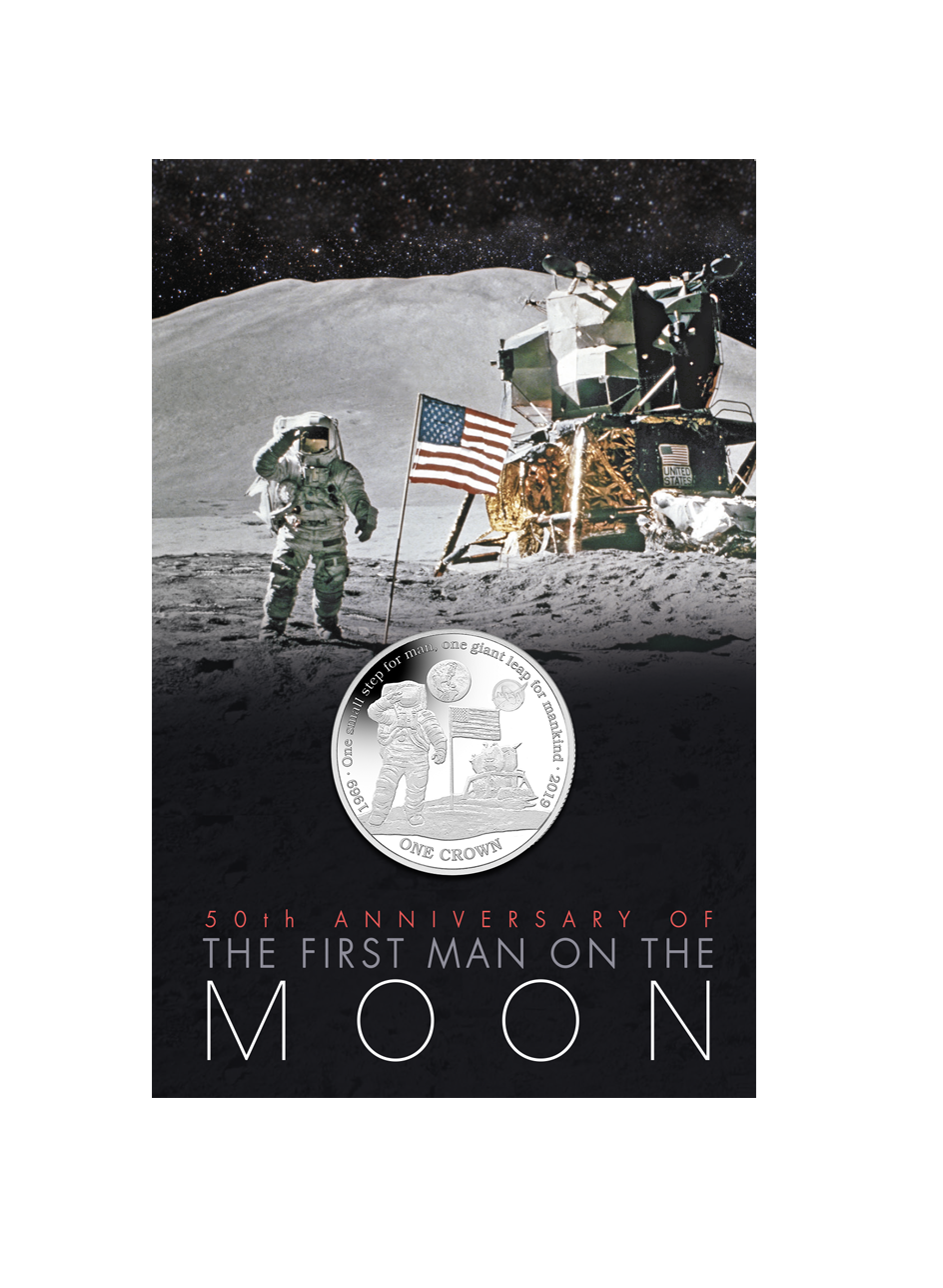 2019 First Man On The Moon Crown By Pobjoy Mint